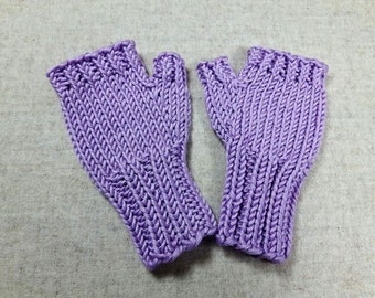 Fingerless Gloves for babies and toddlers lilac, cotton, handknitted arm warmers, mittens