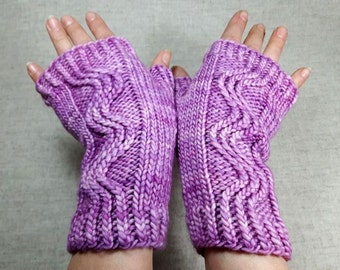 Fingerless Gloves Lilac, Merino Wool, handknitted Mittens, Gift for Women, Arm Warmers