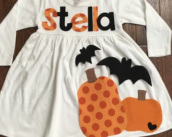 Halloween Dress-Personalized girl's bat appliqué dress-you choose size and sleeve length