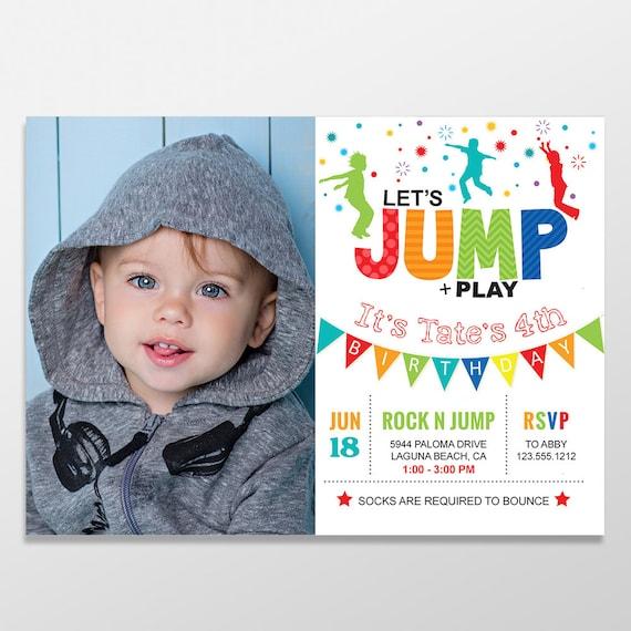 Jump birthday invitation bounce house birthday party trampoline il570xn stopboris Images