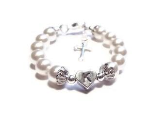 Christening Bracelet, Baptism Bracelet, First Communion Bracelet, Baby Bracelet, Baby Shower Gift, Baby Jewelry, Monogram Bracelet (B52)