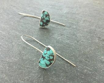 Sterling silver turquoise drop earrings. bezel set earrings. Handmade, Contemporary, modern earrings.