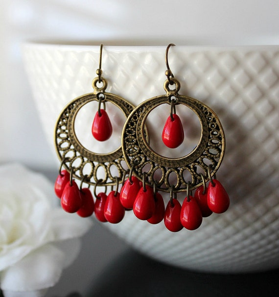 Coral Red Chandelier Earrings Candy Red Bohemian Dangles Red