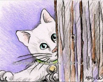 ACEO ORIGINAL ART; pencil crayon drawing, white kitten, collar & bell, domestic cat, 2.5 x 3.5 inches