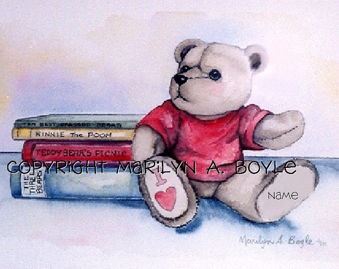 BABY'S ROOM - CUSTOM Orders; boys, 11 x 14 inch matted watercolors, teddy bears and books, nursery, original art, baby's name, birth date,