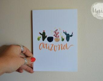 Arizona Succulent Calligraphy Paper Print