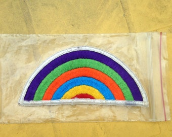Vintage Embroidered Rainbow Patch