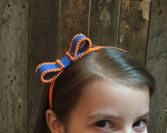 Zipper Bow Headband - orange