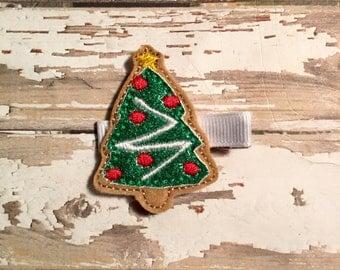 Christmas in July. Sugar cookie christmas tree feltie hair clip, felt clippie, feltie clip.
