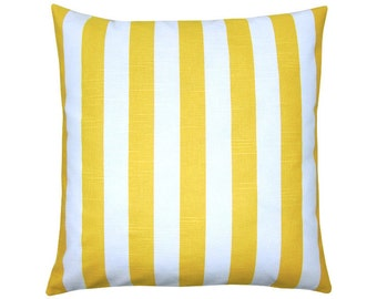 Cushion cover CANOPY yellow white stripe linen look 40 x 40 cm