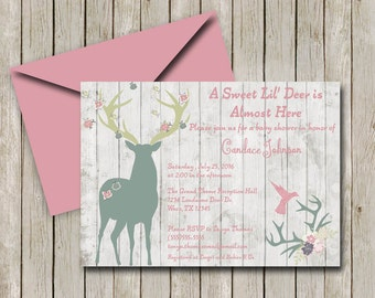 Rustic Invitation, Rustic Baby Shower, Deer Theme Shower, Outdoors Theme  Shower, Baby