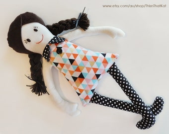 Handmade Dolly | Cloth Rag Doll | New Baby Gift | Modern Geometric Shapes on Dress