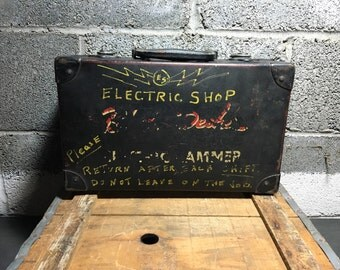 Industrial Electric Shop Box Vintage Shelf Storage! Metal & Wood Hammer Early Machinist Antique Advertising