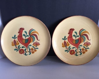"2 Reville Rooster Taylor Smith  and  Taylor Dinner Plates 10.25"" USA"