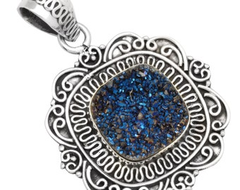 Blue Titanium Druzy Quartz Pendant Solid 925 Sterling Silver Jewelry IP28701
