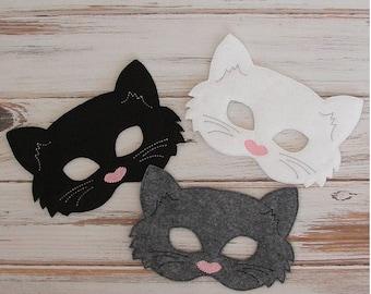 Cat Mask - Felt Mask - Kitty - Gray, White , Black - Costume - Pretend Play, Kids Mask