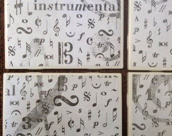 Music notes tile coasters set of 4