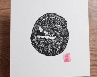 Dormouse Hibernating Lino Cut / Block Print