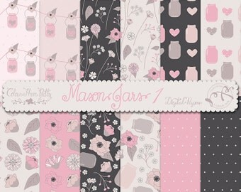 Mason Jars and Flowers 1 Pink Peach - Patterns {Digital Papers}