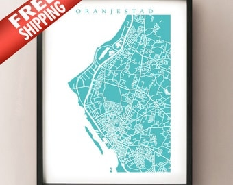 Oranjestad Map - Aruba Poster - Choose color and size