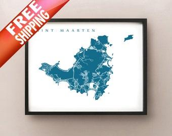 Sint Maarten & Saint Martin Map Print