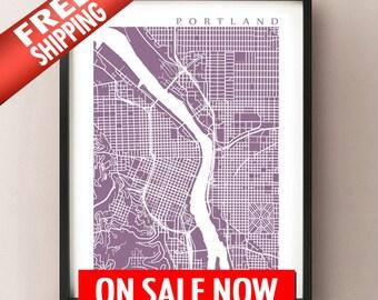 Portland Map Print - Oregon Art Poster - Keep Portland Weird - Pacific Northwest