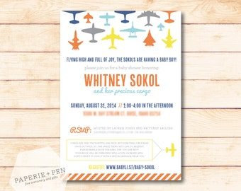 Airplane Baby Shower or Birthday Invitation, 2-3 Day Turnaround!