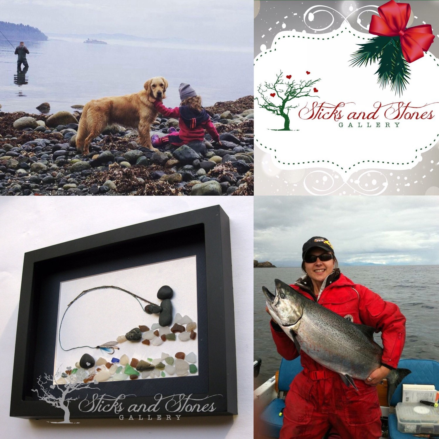 Christmas gifts for him fly fishing pebble art personalized for Fishing gifts for him