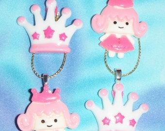 Set of Four - Small Pink Princess Carriage Fairy Tale Love  - Free Shipping - Christmas Ornaments
