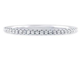 14K White Sapphire Eternity Band 1.6mm 14K White Sapphire Pave Half Eternity Ring 14K Sapphire Matching Eternity Band 14K Birthstone Band