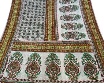 Vintage White Dress Pure Silk Fabric Recycle Saree Clothing Women Wrap Floral Printed Decorative Fabric 5Yard PS38627