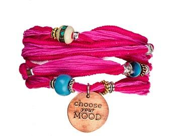 Choose your MOOD Silk Wrap Bracelets - Pink
