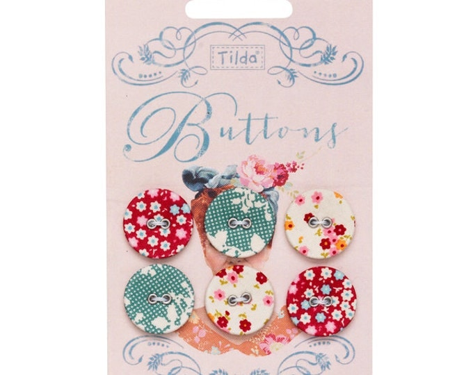 TILDA Cabbage Rose - 20mm Fabric Covered Buttons