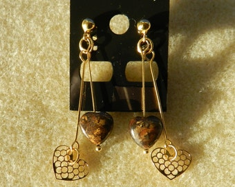Gold Plated 925 Sterling silver Charm and  Bronzite Gemstone heart Drop earrings
