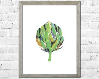 Artichoke Painting, Artichoke Art, Kitchen Wall Art, Vegetable Print, Kitchen Art Print, Vegetable Watercolor Painting, Kitchen Wall Decor