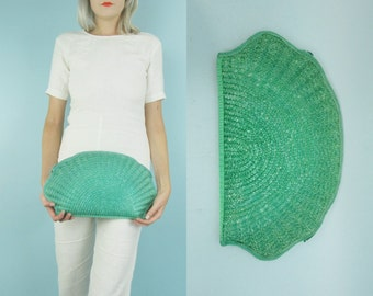 70s Seashell Clutch Purse, Woven Straw Handbag