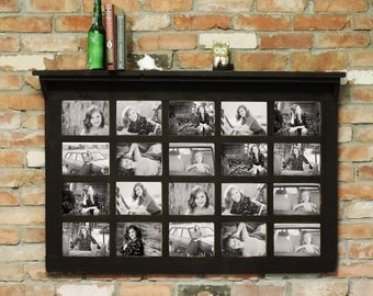 """41.5"""" X 27.5"""" Barn Window Multi-Picture Frame with Shelf Homesteader Style--Fits 20  5 X 7 pictures"""