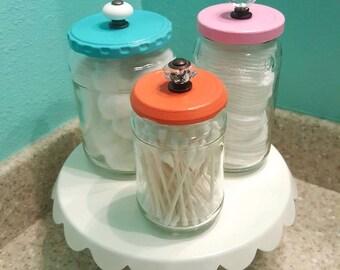 Handmade Bathroom Canisters Painted Jars
