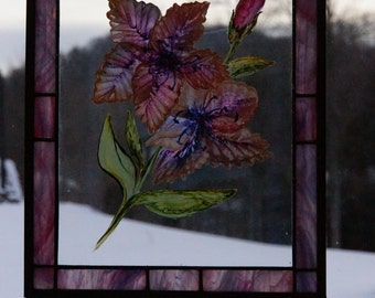 Pink and Purple Stained Glass Panel