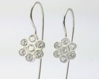 silver earrings with White zircon , unique 925 silver earrings, minimalist flower design.