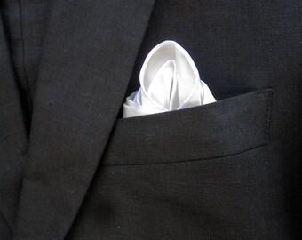 White Pocket Square - Mens Silk Handkerchief - White Silk Pocket Square - Pocket Handkerchief