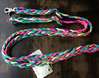 "Adjustable Paracord Reins / Dog Leash - ""Neon Rainbow"" - 8.5ft long"