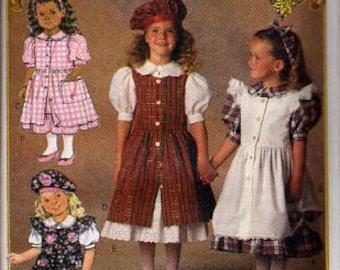 Butterick Pattern 6430 Childrens Overdress, Headband, Dress & Beret UNCUT Size: 2-3-4