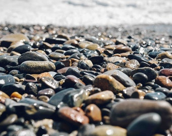 Ocean Photography - Minimalism, Minimalist, Texture, Stone, Rocks, Beach Pebbles, Waves, Wall Art, Home Decor, Print