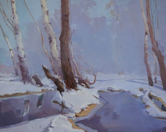 Winter's Dream Landscape Original oil Painting on Canvas  One of a Kind Impressionism Signed with Certificate of Authenticity