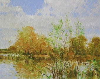 Landscape, Painting in Handmade, Original oil Painting on Canvas,  One of a Kind, Impressionism, Signed with Certificate of Authenticity
