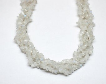 "2 Strands Moonstone Chips 36""Long"