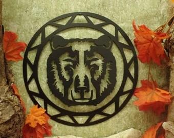 Bear Face Contemporary Circle Wall Hanging