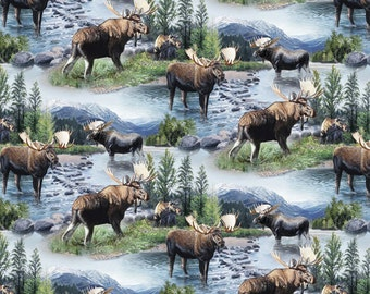 NEW Wild Wings Lake Massepequa Moose Fabric From Springs Creative By the Yard