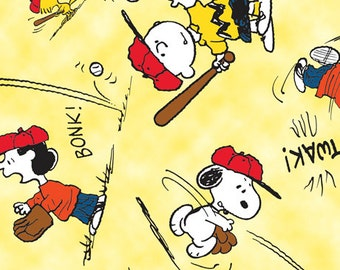 Peanuts All Star Yellow Fabric From Quilting Treasures